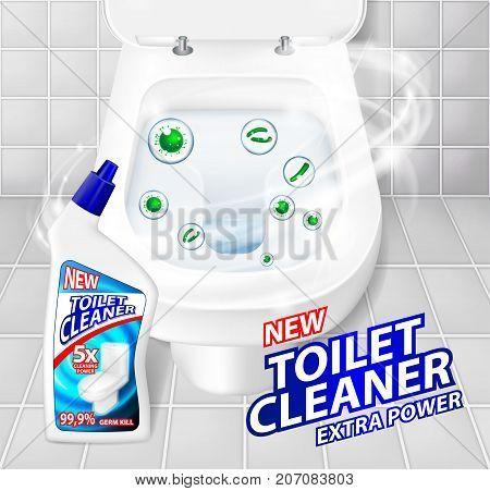 Toilet cleaner gel banner ads. Realistic clean shiny toilet bowl top view with disinfectant container. Vector Illustration EPS 10