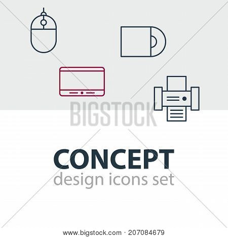 Editable Pack Of Cursor Controller, Photocopier, Dvd Drive And Other Elements.  Vector Illustration Of 4 Accessory Icons.