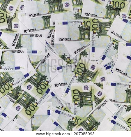 Fake euro banknotes. Background with money. Top view
