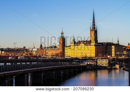 Stockholm at sunset - a view of the Gamla Stan (Old Town)