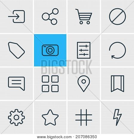 Editable Pack Of Photo Apparatus, Rating, Label And Other Elements.  Vector Illustration Of 16 Annex Icons.