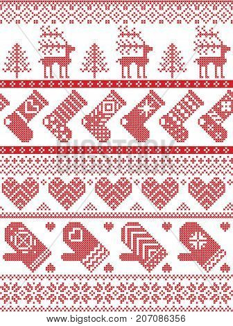 Scandinavian, Nordic style winter stitching Christmas pattern including snowflakes, hearts, Christmas present, snow, star, Christmas tree, reindeer, mittens, stockings and decorative ornaments in red, white