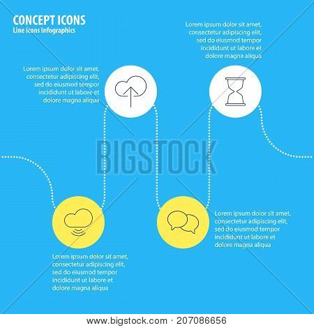 Editable Pack Of Talking, Wave, Sandglass Elements.  Vector Illustration Of 4 Web Icons.
