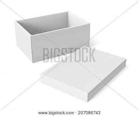3d rendering left tilt blank white paper open box with separate lid on the ground for design use isolated white background elevated view