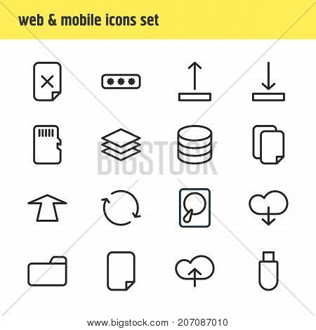 Editable Pack Of Upward, Remove, Hdd And Other Elements.  Vector Illustration Of 16 Archive Icons.