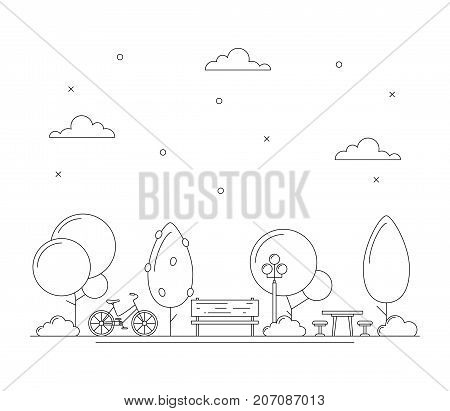 Line art city park illustration with trees bench bicycle table for picnic or chess. Town concept. Thin line art icons. Black and white. Vector isolated on white