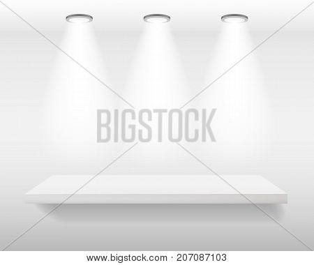 White realistic empty shelf on white wall with top lights. Vector illustration mockup background