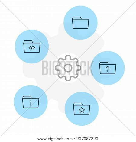 Editable Pack Of Document Case, Question, Pinned And Other Elements.  Vector Illustration Of 5 Dossier Icons.