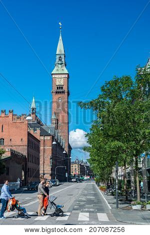 Copenhagen Denmark - september 3 2017: Copenhagen City Hall is the headquarters of the municipal council as well as the Lord mayor of the Copenhagen Municipality. The building is situated on City Hall Square in central Copenhagen.