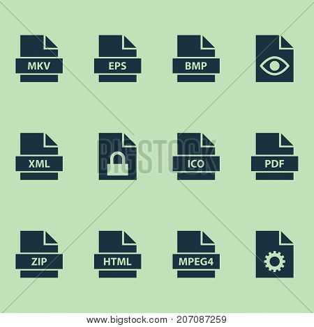 Types Icons Set. Collection Of Protection, Configuration, Xml And Other Elements