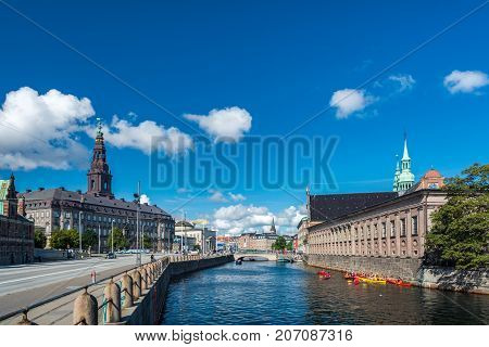 Copenhagen Denmark - september 3 2017: Christiansborg Palace is a palace a government building and the seat of the Danish Parliament with the Danish Prime Minister's Office and the Supreme Court of Denmark.