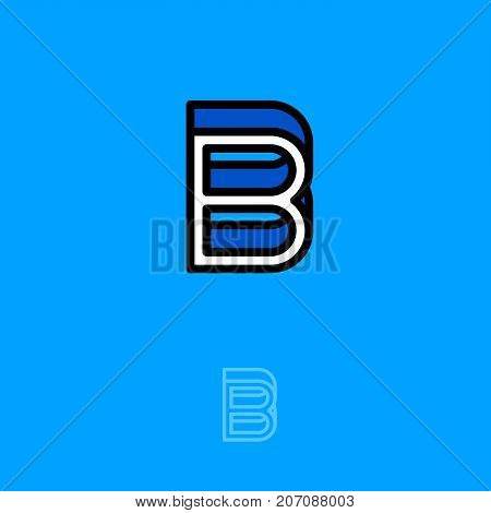 B Building Logo. B Emblems. B Monogram. Isolated On A Blue Background. Industry, Build, Construction