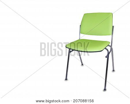 The office chair from green cloth. Isolated