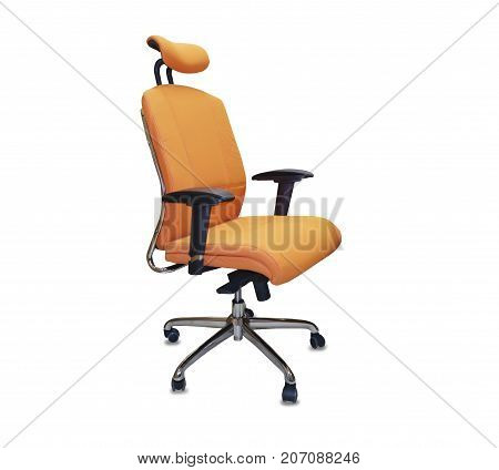 The office chair from orange cloth. Isolated