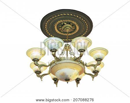 Large crystal chandelier in baroque style isolated over white