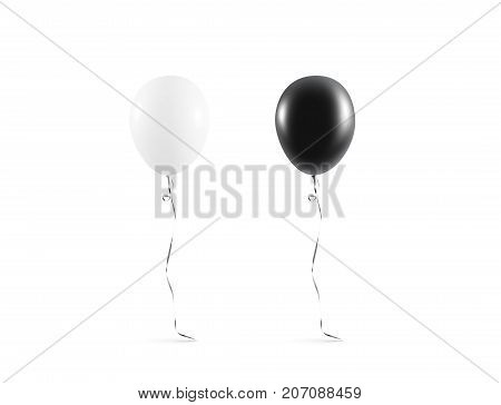 Blank black and white balloon mock up isolated. Clear white balloon art design mockup. Clean pure baloon template. Logo, texture, pattern presentation on plain aerostat design element.