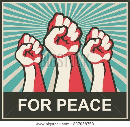 vector illustration retro poster human hands clenched into fist symbol of protest revolt revolutions