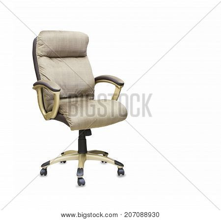 Modern office chair from beige cloth over white