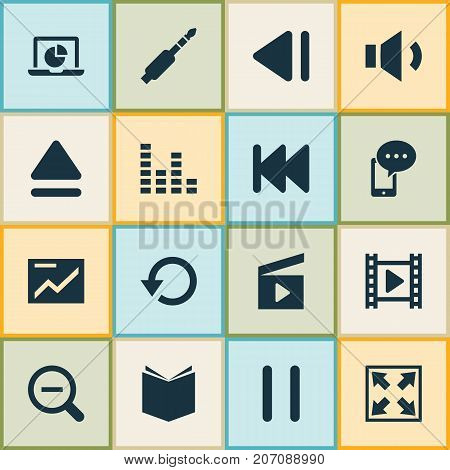 Music Icons Set. Collection Of Cinema Clap, Enlarge, Movie And Other Elements