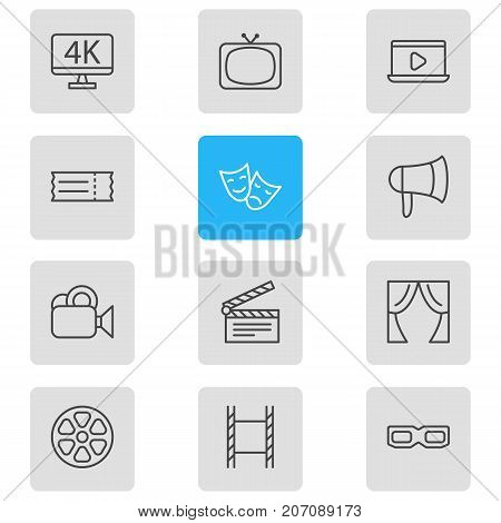 Editable Pack Of Clapper, Spectacles, Filmstrip And Other Elements.  Vector Illustration Of 12 Movie Icons.