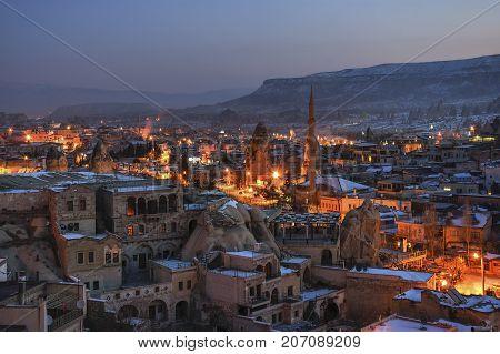 The Great Tourist Place Cappadocia - At Night Time With Beautiful Light. Goreme, Cappadocia, Turkey