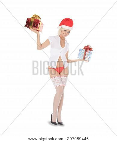 Sexy santa woman holding gift box over white