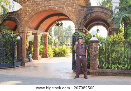 Goa India - February 24 2015: Entrance in the luxury hotel Resorte Marinha Dourada