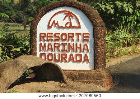 Goa India - February 24 2015: Stone pedestal with the name of the hotel