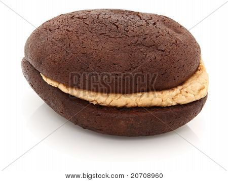 Peanut Butter Whoopie Pie On White Background