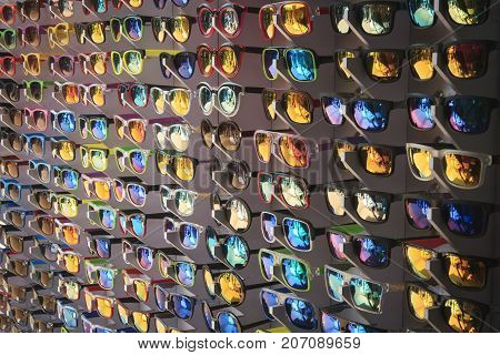 Many different glasses at the sale on market