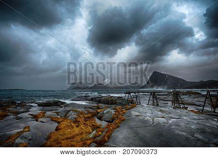 Windy day at Sandnes in Lofoten islands