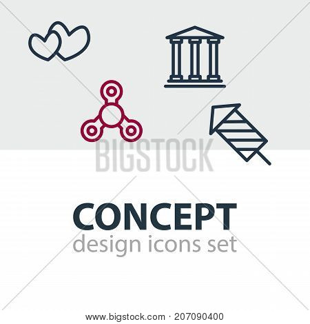 Editable Pack Of Soul, Museum, Hand Fidget Elements.  Vector Illustration Of 4 Joy Icons.