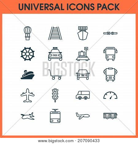 Vehicle Icons Set. Collection Of Safety Belt, Automobile, Air Transport And Other Elements