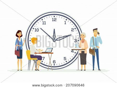 Time management for business - modern cartoon people characters illustration. Happy colleagues of different genders and age with a big clock behind. Concept of teamwork, deadline, due date, success