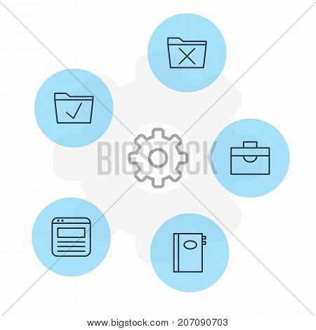 Editable Pack Of Portfolio, Delete, Approve And Other Elements.  Vector Illustration Of 5 Bureau Icons.