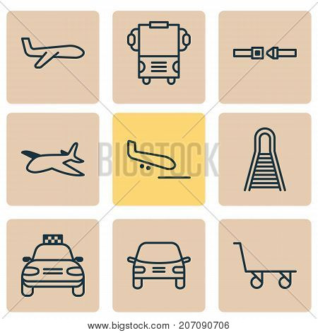 Vehicle Icons Set. Collection Of Air Transport, Cargo Cart, Railway And Other Elements