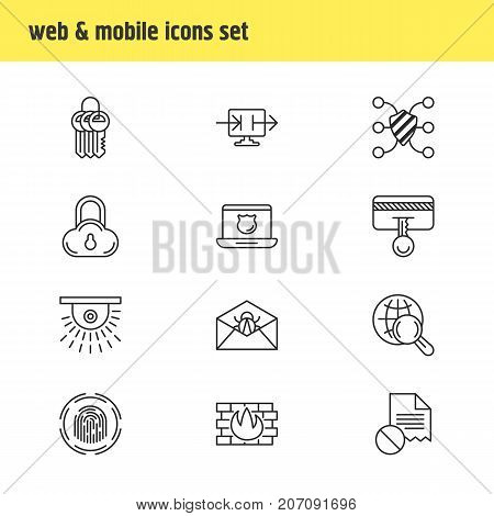 Editable Pack Of Send Information, Safeguard, Network Protection And Other Elements.  Vector Illustration Of 12 Privacy Icons.