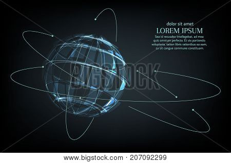 Abstract image of a planet Earth in the form of a starry sky or space, consisting of points, lines, and shapes in the form of planets, stars and the universe. Earth vector wireframe concept