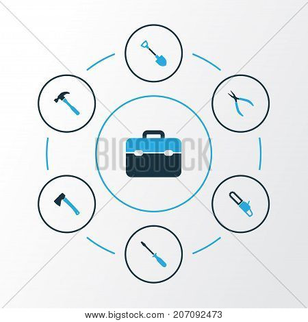Tools Colorful Icons Set. Collection Of Axe, Digging, Turn-Screw And Other Elements