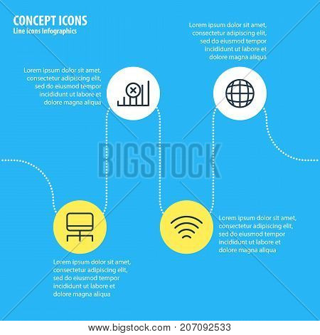 Editable Pack Of Hosting, Internet, Web And Other Elements.  Vector Illustration Of 4 Network Icons.