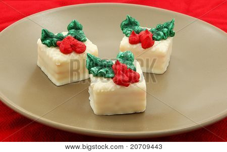 Holiday Petit Fours Set On Plate