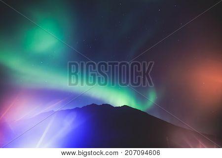 Beautiful Picture Of Massive Multicolored Green Vibrant Aurora Borealis, Aurora Polaris, Also Know A