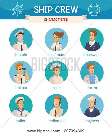Yacht ship crew characters cartoon round icons set with captain sailor cook engineer boatswain isolated vector illustrations