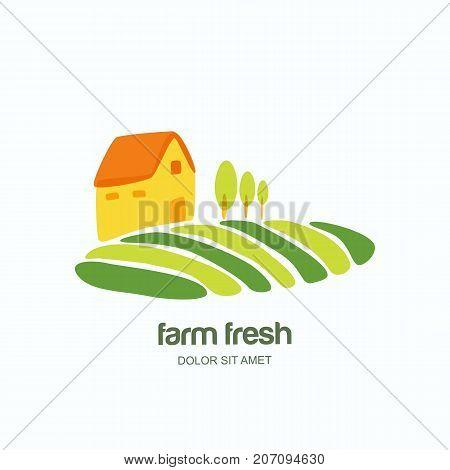 Farm And Farming Vector Logo, Label, Emblem Design Template. Agriculture, Harvesting, Natural Farm,