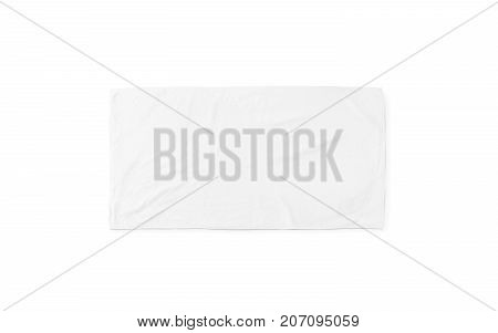 Black white soft beach towel mock up isolated. Clear unfolded wiper mockup laying on the floor. Shaggy fur bath textured jack-towel top view. Domestic cloth kitchen overlay template ready for print..