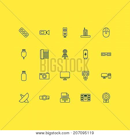 Device Icons Set. Collection Of Extension Cord, Usb, Personal Computer And Other Elements