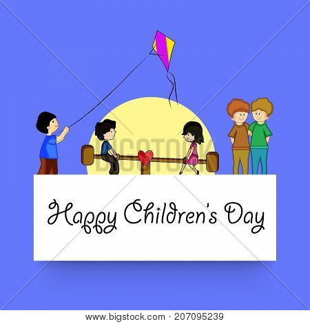 illustration of kids playing seesaw and flying kite with Happy Children's Day text on the occasion of Children's Day