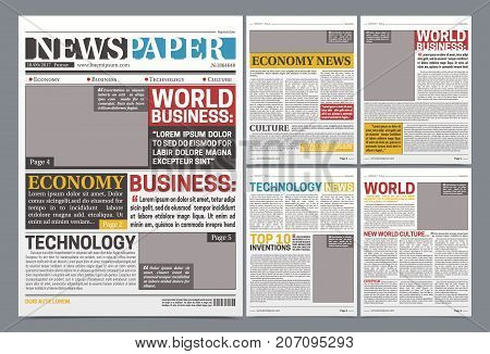 Newspaper online template design poster with world top business news economy and technology headlines realistic vector illustration