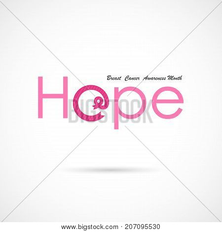 Hope word icon.Breast Cancer October Awareness Month Campaign Background.Women health vector design.Breast cancer awareness logo design.Breast cancer awareness month icon.Realistic pink ribbon.Vector illustration