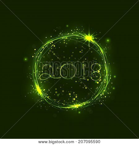 Happy new year 2018 holiday background.2018 Happy New Year greeting card.Happy new year 2018 and abstract burning circles with glitter swirl trail effect background.Glowing lights.Vector illustration